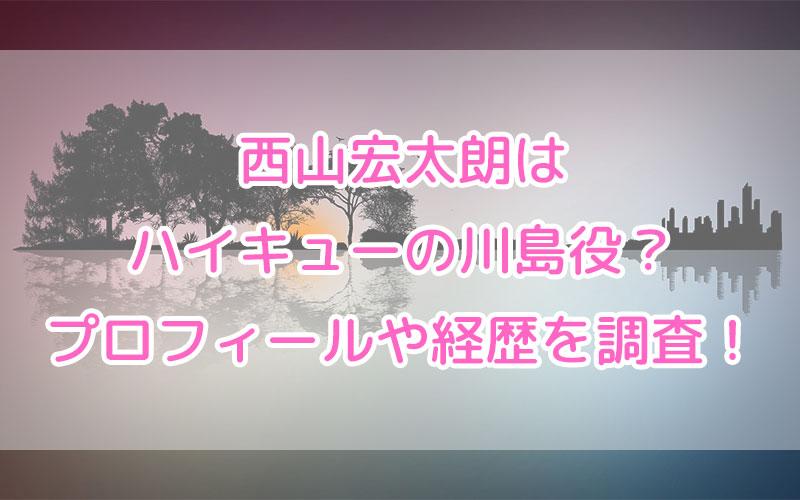 西山宏太朗はハイキューの川島役?プロフィールや経歴を調査!